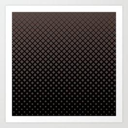 Brown diamonds with black background geometric pattern Art Print