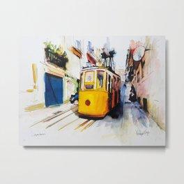 Lisbon Yellow tram by wimvandewege Metal Print