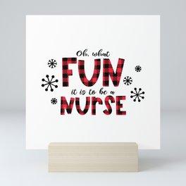 Christmas Nurse, oh what fun Mini Art Print