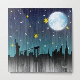 Starry Night Over Manhattan Metal Print
