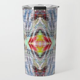 geometric symmetry pattern abstract background in blue yellow red Travel Mug