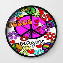 Imagine Peace Sybols Retro Style Wall Clock