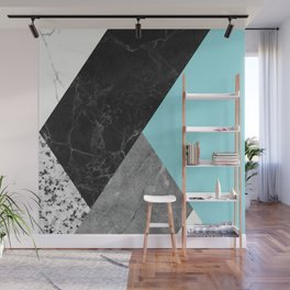 Black and White Marbles and Pantone Island Paradise Color Wall Mural