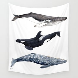 Orca, humpback and grey whales Wall Tapestry
