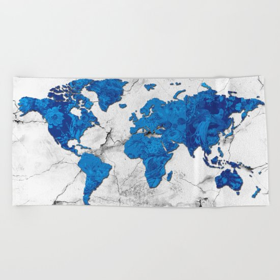 world map marble floral Beach Towel