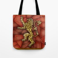 lannister Tote Bags featuring House Lannister Stained Glass by itsamoose