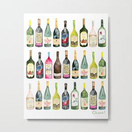 Cheers! Wine Bottles Metal Print