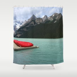 Lake Louise Red Canoes Shower Curtain