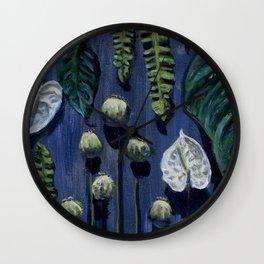 Blue Botanical Wall Clock