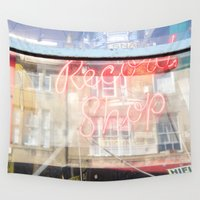 record Wall Tapestries featuring Record shop by RMK Photography