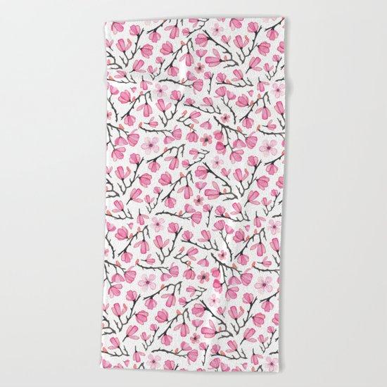 Pink Cherry Blossom Beach Towel