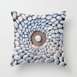 Sea stones laid out in the shape of a circle Throw Pillow
