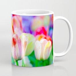 Beautiful Fresh Tulip Flowers On A Flowerbed Coffee Mug