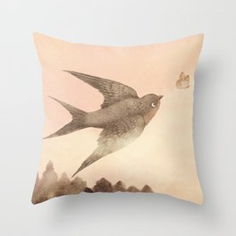 Sunset Swallow Throw Pillow
