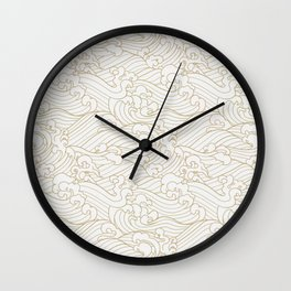Golden Waves in White Wall Clock