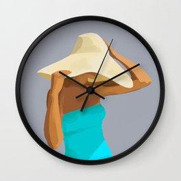 At the Beach: Aqua suit Wall Clock