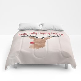 Christmas Watercolor Red Nosed Reindeer Silhouette Comforters