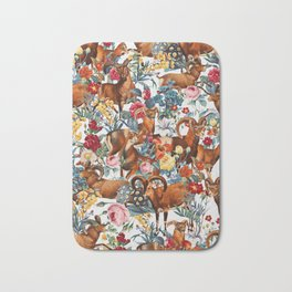 Capra Cylindricornis and Floral Pattern Bath Mat