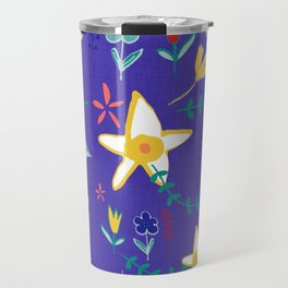 Floral The Tortoise and the Hare is one of Aesop Fables blue Travel Mug
