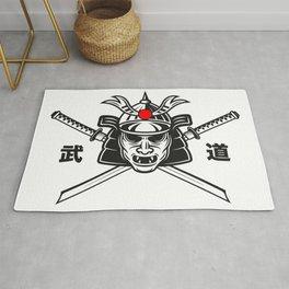 Samurai Mask Two Katana Rug