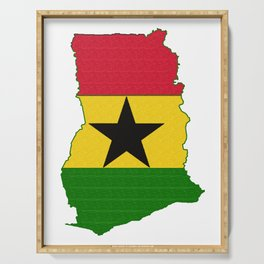 Ghana Map with Ghanian Flag Serving Tray