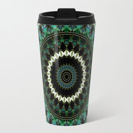 Green Citrine Beaded Mandala Travel Mug