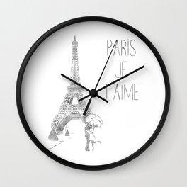 Paris Je T'aime (I Love You) T Shirt, Hand Drawn Sketch Wall Clock