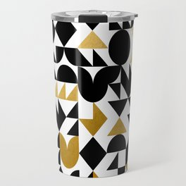 geometric black & gold Travel Mug