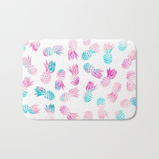 Modern summer tropical pineapple watercolor illustration pattern Bath Mat