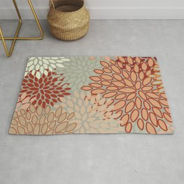 Floral Prints, Abstract Art, Sage Green, Coral, Terracotta, Red, Coloured Prints Rug
