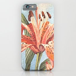 Orange Tiger Lily Watercolor Painting iPhone Case