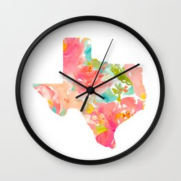 Texas Floral map state map print Wall Clock