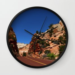 Red Road  Through Zion Park Wall Clock