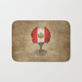 Vintage Tree of Life with Flag of Peru Bath Mat