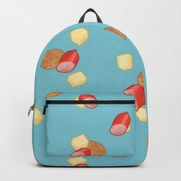 Cheese, Kabana and Jatz snacks on Blue Backpack