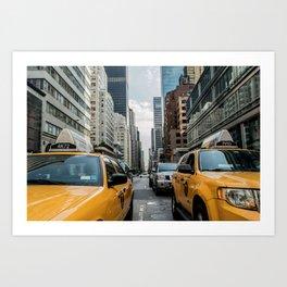 Taxis on New York City Street Art Print