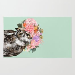Owl with Flowers Crown in Green Rug