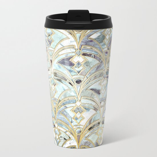 Pale Bright Mint and Sage Art Deco Marbling Metal Travel Mug