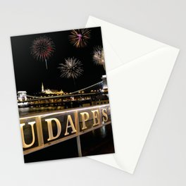 Chain bridge  with fireworks on Budapest city. Stationery Cards