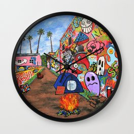 Los Angeles Alley by Mike Kraus - LA art street graffiti socal california houses homes colorful deco Wall Clock