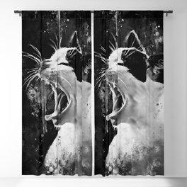 evil cat mouth wide open splatter watercolor black white Blackout Curtain