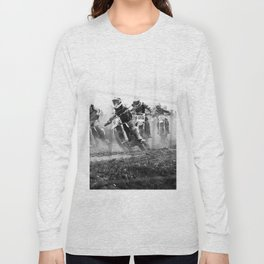 Motocross black white Long Sleeve T-shirt