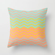 Colorful Chevron on Peach and Mint Throw Pillow