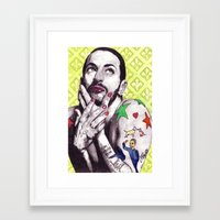 marc jacobs Framed Art Prints featuring Marc Jacobs by Joseph Walrave