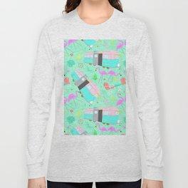 Midcentury Retro Yard Flamingos + Campers Long Sleeve T-shirt