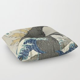 The Great Godzilla off Kanagawa Floor Pillow