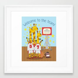 Welcome to the team - fun, colorful, children's illustration Framed Art Print