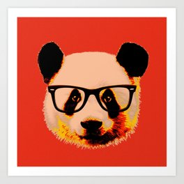 Geek Panda with Glasses with Red Background Art Print
