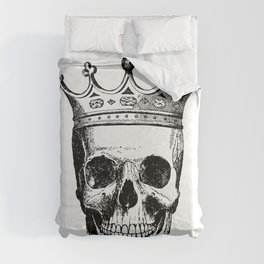 Skull King | Skull with Crown | Black and White | Comforters