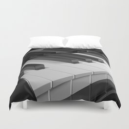 Keyboard of a black piano - 3D rendering Duvet Cover